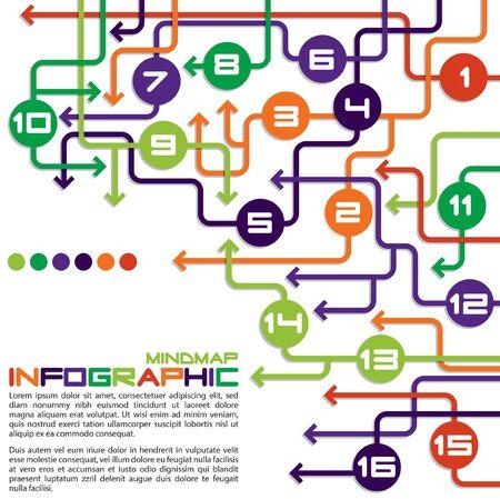 Laberinto de flechas info gráfico mapa mental diagrama de flujo en formato vectorial