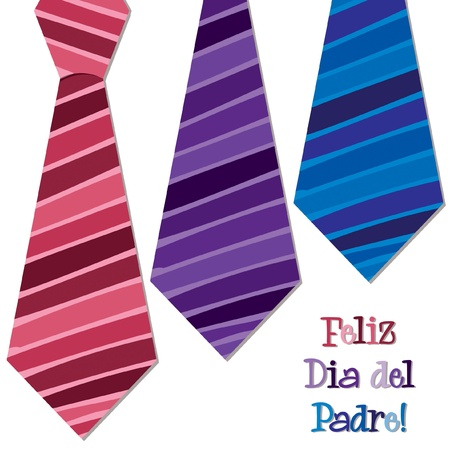 father s day: Bright Spanish  Happy Father s Day  neck tie card in vector format  Illustration