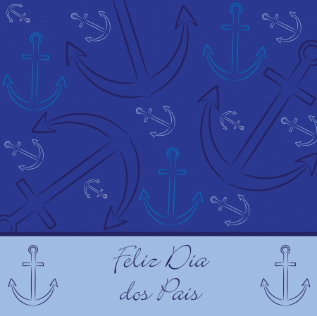 Portuguese hand drawn anchor  Happy Father s Day  card in vector format  Ilustração