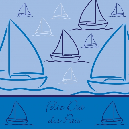 fathers day background: Yacht patterned  Happy Father s Day  card in vector format