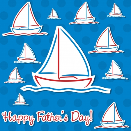 ship captain: Bright Father s Day sailing boat cards in vector format