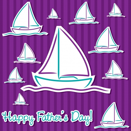 hull: Bright Father s Day sailing boat cards in vector format