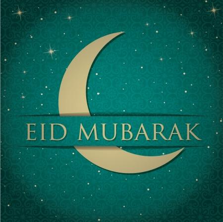 Gold crescent moon  Eid Mubarak   Blessed Eid  card in vector format