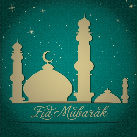 kareem: Gold Mosque and stars  Eid Mubarak   Blessed Eid  card in vector format
