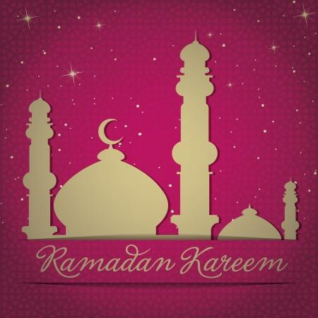 generoso: Mezquita de oro y las estrellas tarjeta de Ramad�n Generoso Ramad�n Kareem en formato vectorial Vectores