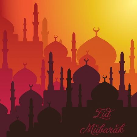 黄昏清真寺Eid Mubarak在传染媒介格式祝福Eid卡片