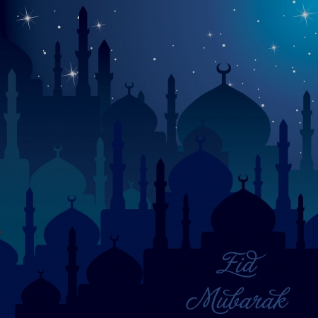 Dusk Mosques Eid Mubarak  Blessed Eid  card in vector format  Vector