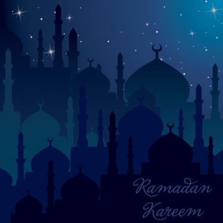 Dusk Mosques Ramadan Kareem  Generous Ramadan  card in vector format  Stock Vector - 19644487