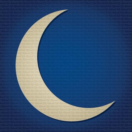 crescent moon: Gold crescent moon  Ramadan Kareem   Generous Ramadan  text pattern card in vector format