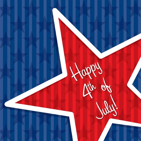 Star cut out Happy 4th of July card in vector format  Stock Vector - 19644499