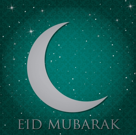 Silver crescent moon  Eid Mubarak   Blessed Eid  card in vector format  Vector