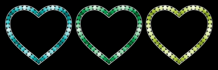 peridot: Sapphire, aquamarine, emerald and peridot encrusted hearts in vector format