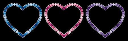 Sapphire, aquamarine, tourmaline, pink diamond, tanzanite and amythest encrusted hearts in vector format  Vector