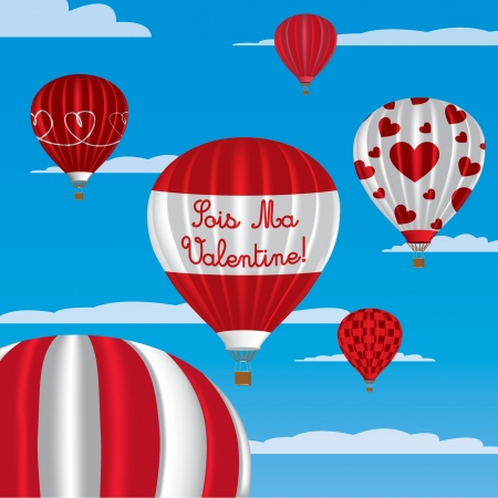 Valentine s hot air balloons in French Vector