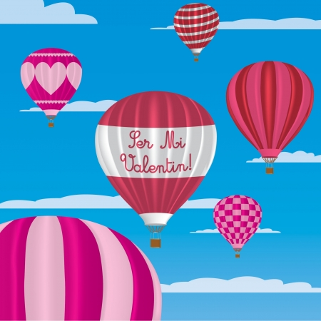 Valentine s hot air balloons in Spanish Vector