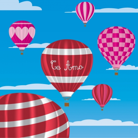 I Love You  hot air balloons in Spanish Vector