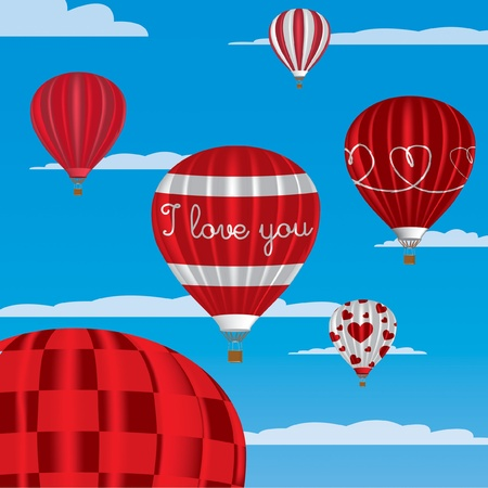 I Love You  hot air balloons in English Vector