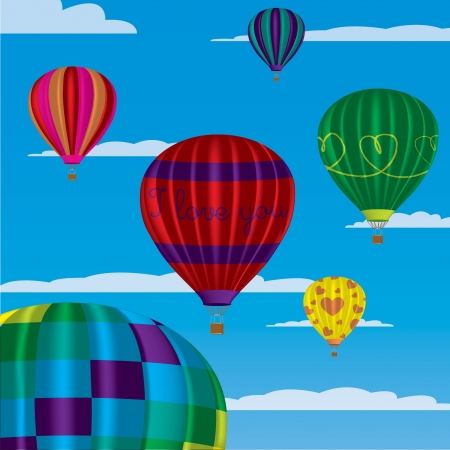 multi coloured: Multi coloured hot air balloons with  I Love You  in vector format on a sky background  Illustration