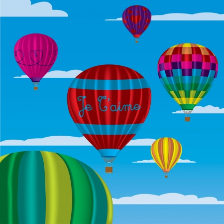 multi coloured: Multi coloured hot air balloons with  Je T aime  in vector format on a sky background