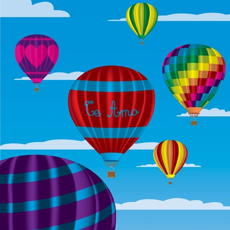 multi coloured: Multi coloured hot air balloons with  Te Amo  in vector format on a sky background