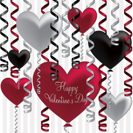 Happy Valentine s Day balloon card in vector format  Stock Vector - 19644606