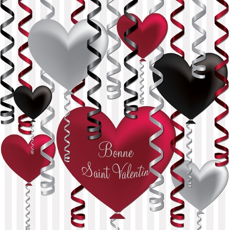 French Happy Valentine s Day balloon card in vector format Stock Vector - 19644600