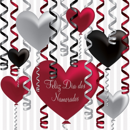 Portuguese Happy Valentine s Day balloon card in vector format