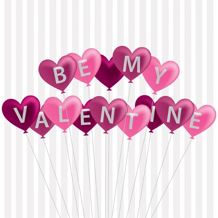 Pink  Be My Valentine  balloon card in vector format  Stock Vector - 19644580