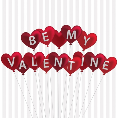 Red  Be My Valentine  balloon card in vector format  Stock Vector - 19644581