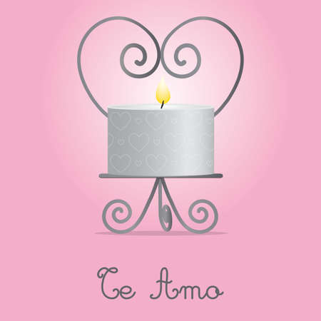 I Love You candle and holder card design