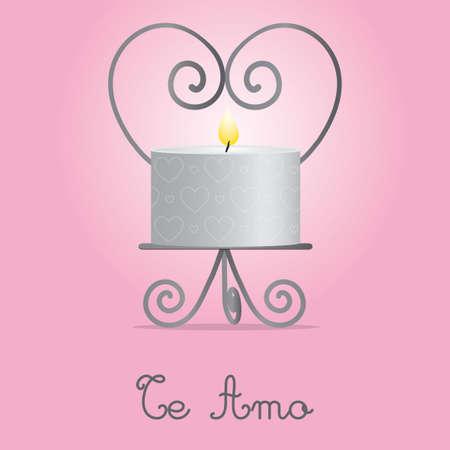 Ich liebe dich Kerze und Halter card design
