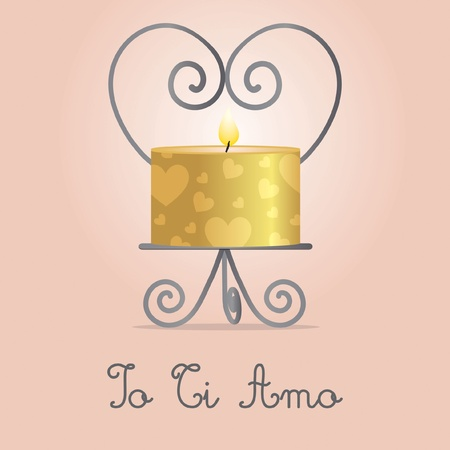 I Love You  candle and holder card design Illusztráció