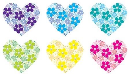 Mosaic sugar daisy hearts in vector format  Vector