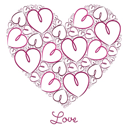 Fuchsia hand drawn heart of hearts card in vector format    Stock Vector - 19644678