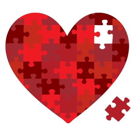 heart problems: Heart jigsaw puzzle in vector format