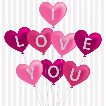 I love you balloon card in vector format  Stock Vector - 19644685