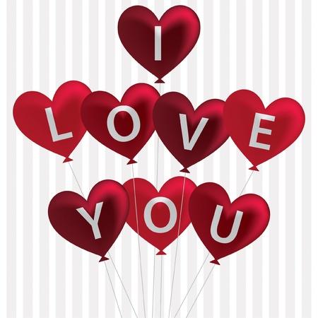 I love you balloon card in vector format  Stock Vector - 19644694