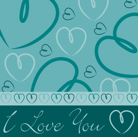 Aqua hand drawn heart card in vector format  Stock Vector - 19644638