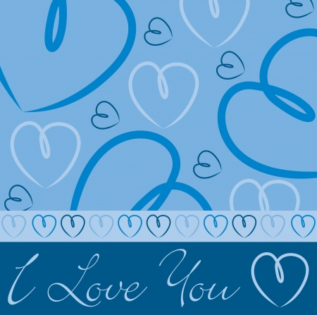 Blue hand drawn heart card in vector format  Vector