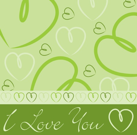 Lime green hand drawn heart card in vector format  Stock Vector - 19644642
