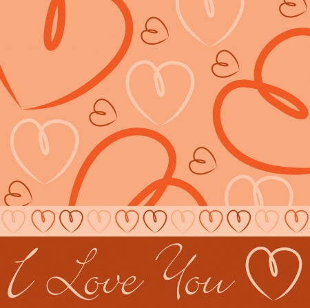 Orange hand drawn heart card in vector format Stock Vector - 19644636