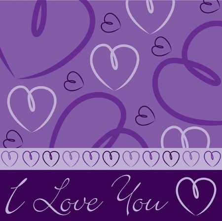 Purple hand drawn heart card in vector format  Stock Vector - 19644639