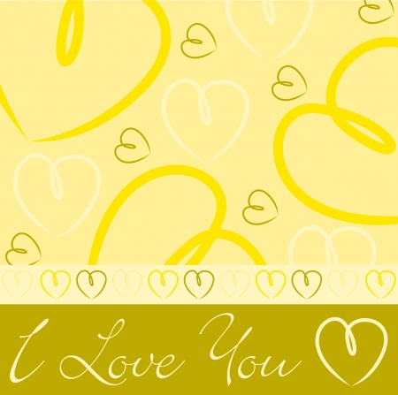 feminine background: Yellow hand drawn heart card in vector format