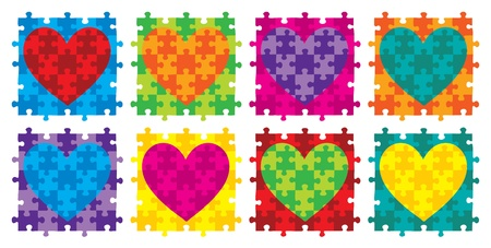 Heart jigsaw puzzle in vector format  Vector