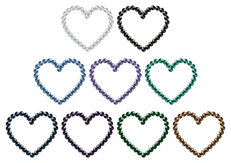 grand strand: South sea black pearl hearts in vector format