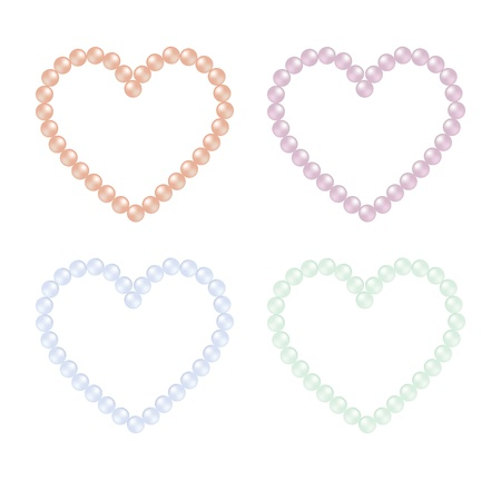 grand strand: Coloured pearl hearts in vector format