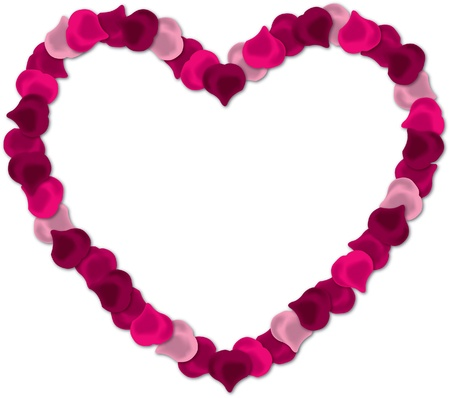 Pink rose petal heart vector image on a white background