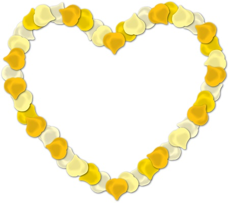 pale cream: Yellow rose petal heart vector image on a white background