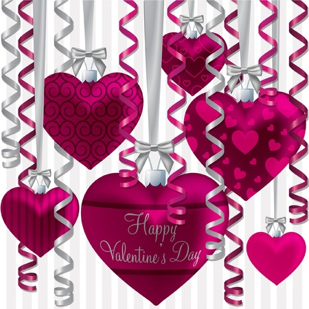 Curling ribbon heart bauble Happy Valentine s Day card in vector format  Stock Vector - 19644736