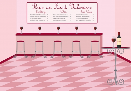 bar stool: French style Valentine s Day wine bar in vector format